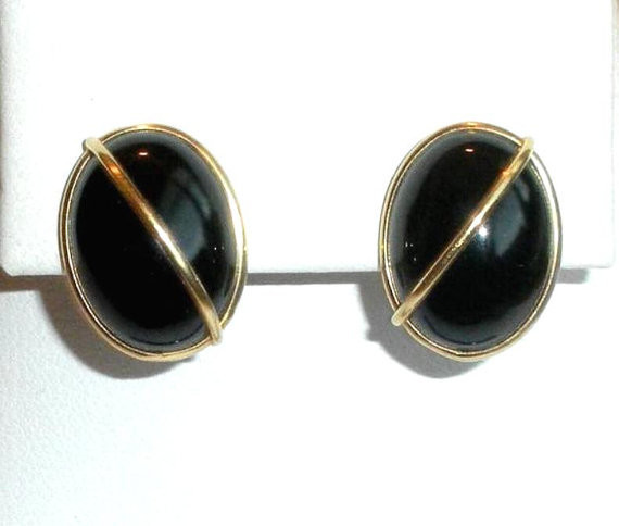 Vintage 14K Gold Onyx Cabochon Modernist Pierced Earrings