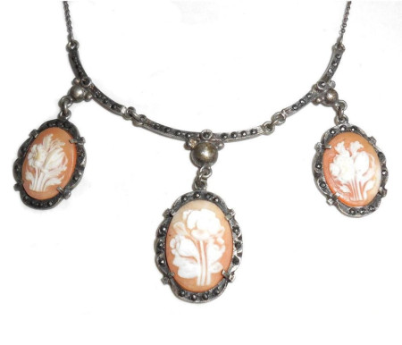 Art Deco Shell Cameo And Marcasite Sterling Silver Festoon Bib Necklace
