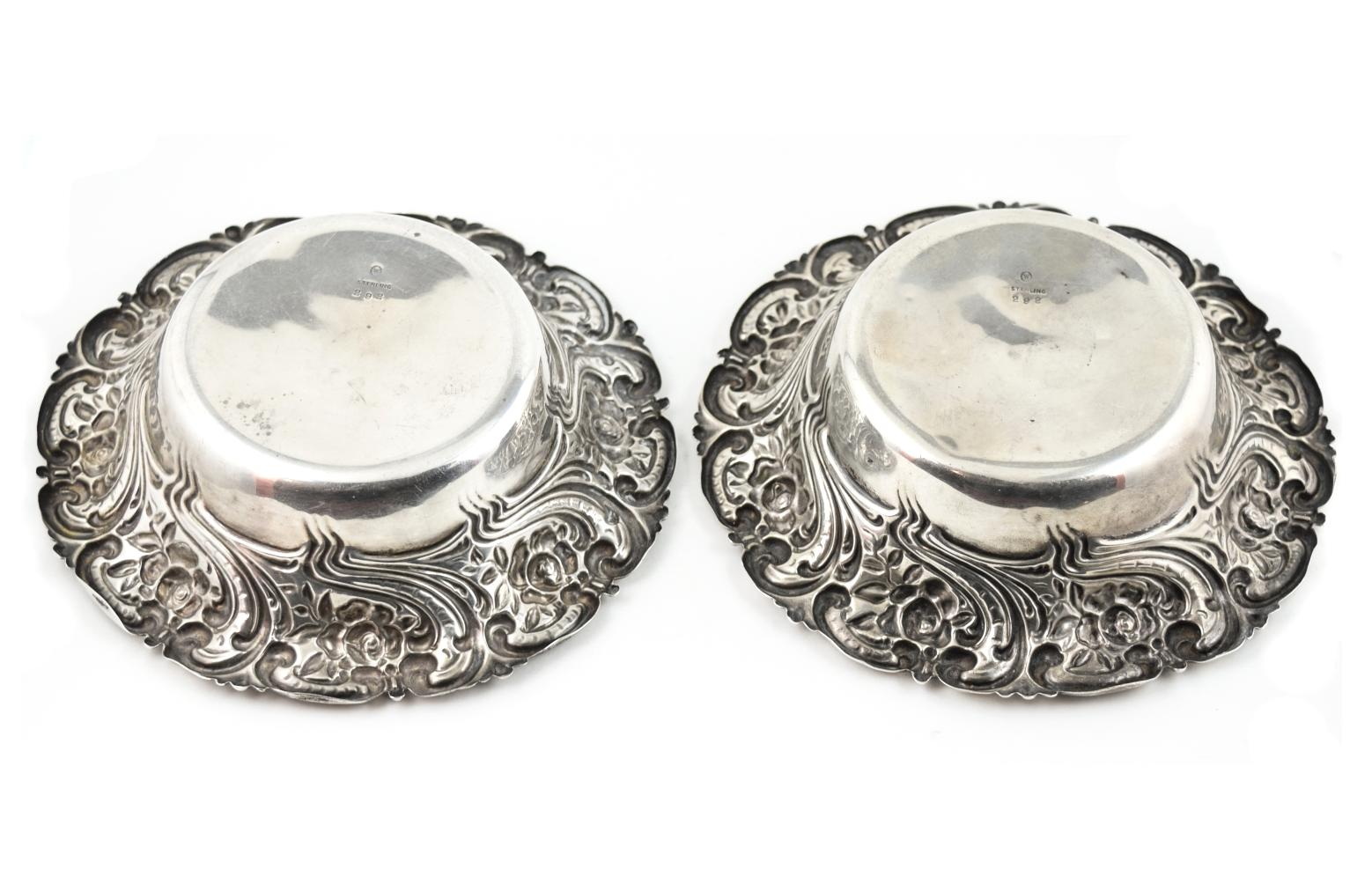 2 Antique Repoussed Art Nouveau Woodside Sterling Silver