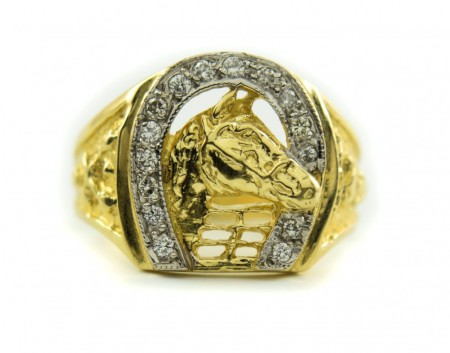 14k Gold Horse Diamond Horseshoe Mens Ring 9.75