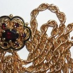 1967 Vintage 14k Gold 32 Inch Garnet Slide Tassel Necklace 37.4gr