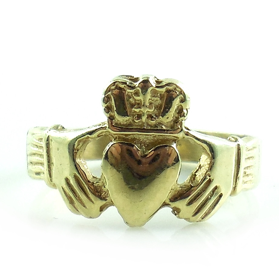 14k Yellow Gold Hand Cut Ladies Irish Claddagh Ring Handmade Numbered Size 6.75