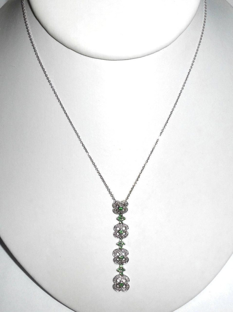 14k White Gold .82ct Emerald And Diamond Floating Dangle Necklace 5.6gr