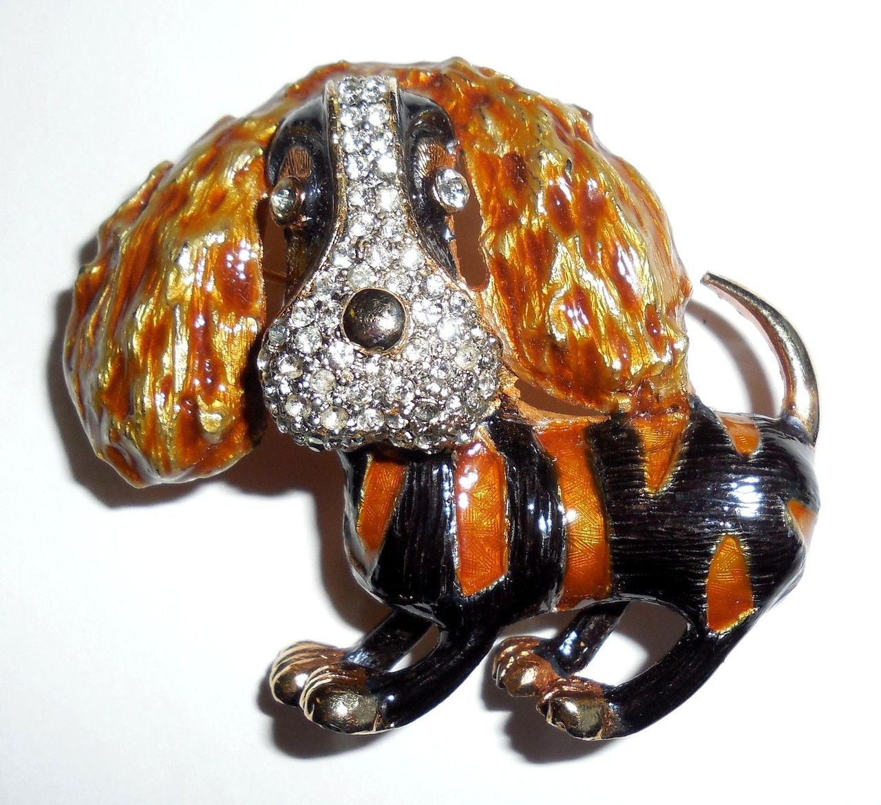 Enamel Rhinestone Cocker King Charles Spaniel Pin Puppy Dog No Wear Condition Crisp Clean