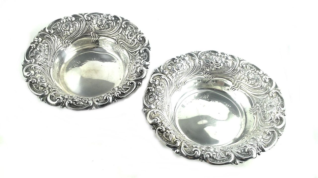 2 Antique Repoussed Art Nouveau Woodside Sterling Silver Serving Bowl Pair