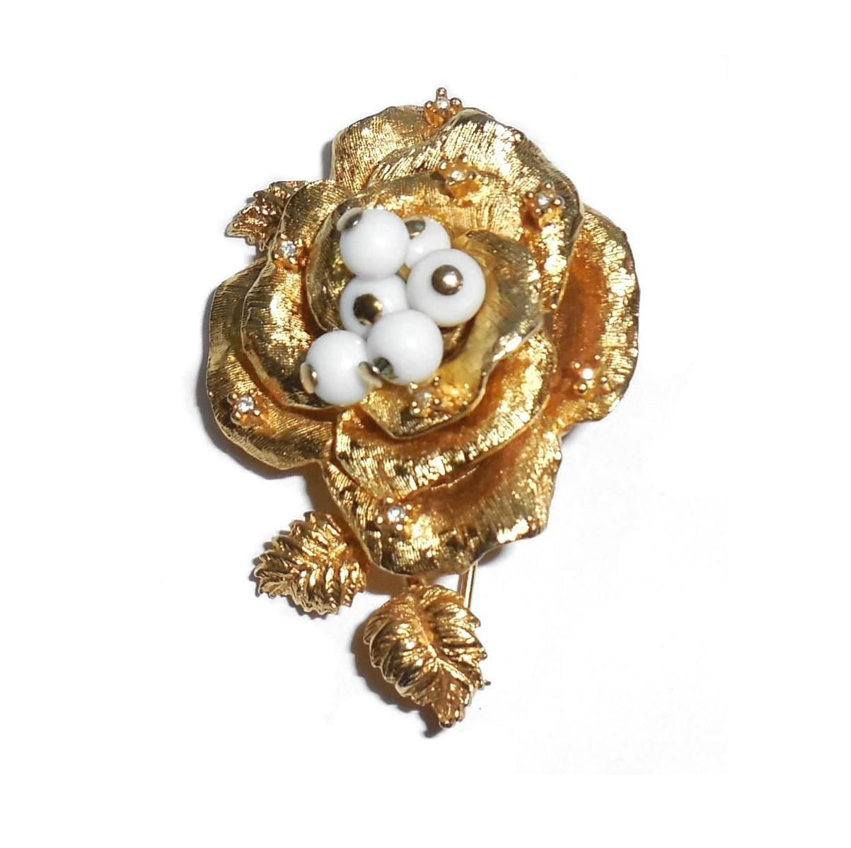 Large Vintage Gold Plated Denicola Blooming Rose Pin