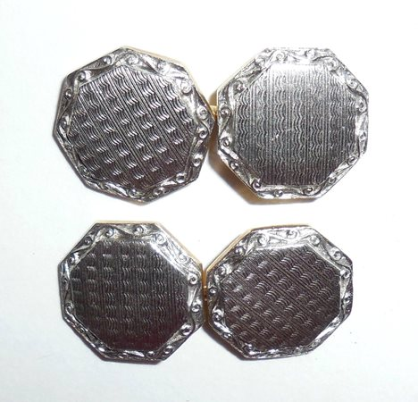 Heavy Art Deco Platinum Gold Wash Fancy Mens Cufflinks Chainlink No Monogram