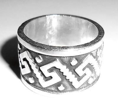 Vintage Mexican Sterling Silver Wide Cigar Band Tribal Wedding Ring 7 Resized