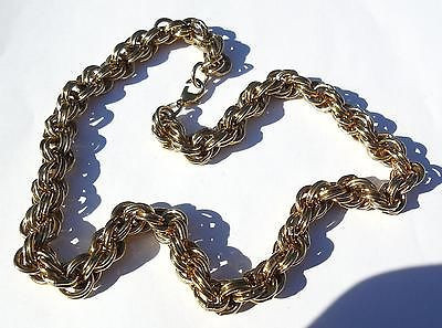 Vintage Gold Plated Wide Chunky Heavy Chain Link Necklace 19 Inch