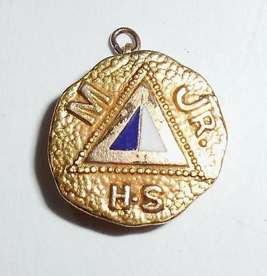Vintage Art Deco Enamel Mjr Hs Pin Charm Fob Minooka Martino High School