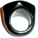 Huge Chunky Modernist 28m 3d Diamond Shape Onyx Ring Size 7