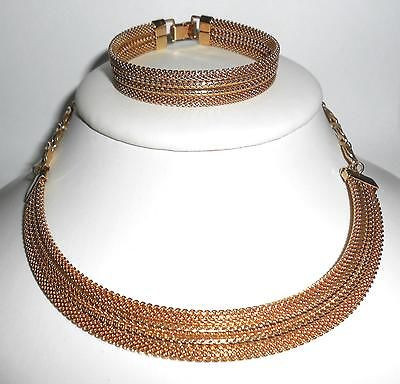 Vintage Yellow Gold Plated Emmons Necklace Bracelet Set No Wear Exc Cond