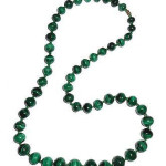 Vintage 25.5 Inch Natural 7m 18m Banded Malachite Stone Beaded Necklace 135g Beads