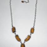 Chinese Sterling Silver And Tiger Eye Centerpiece Necklace 16.5 To 20 Inch Adjustabable