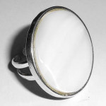 Huge Vintage 1960s Hand Made Silver Plated Natural Agate Adjustable Ring 6