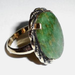 Vintage 10k Gold Filled Natural Jade Ring Size 4.25 Fancy Band