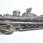 Vintage Silver Plated Oil Rig Mens Tie Bar Tie Clasp Usa Made