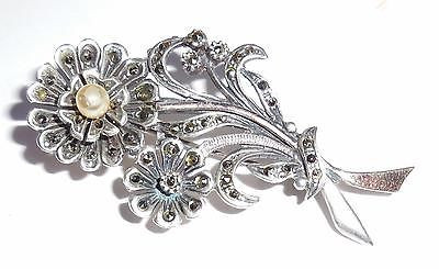 Vintage European Danish Hallmark 835 Silver And Gold Marcasite Pin Long Stem Flower