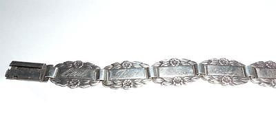 Vintage Ww2 Era Art Deco Sterling Silver Forget Me Not Bracelet Flowers Exc
