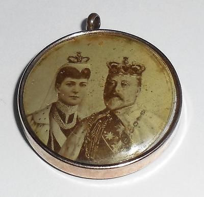 Antique 1902 Edwardian Rose Gold Filled Sepia Pendant King Edward Vii Coronation Fob