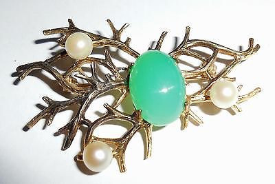Vintage 1950s Art Deco Gold On Sterling Silver Jadeite Cultured Pearls Pin As Is