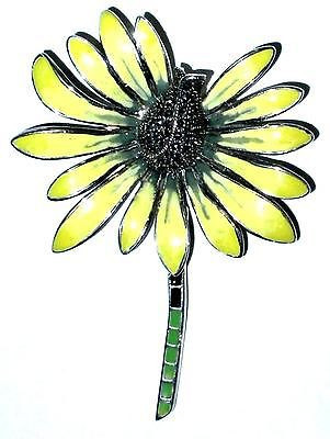Vintage Sterling Silver Enamel Marcasite Daisy Pin Big Heavy Showy