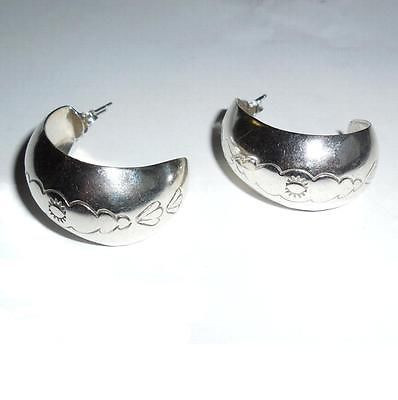 Vintage 925 Sterling Silver Large Wide Huggie Earings Pierced Post