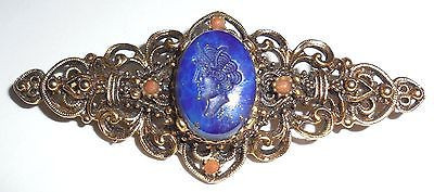 Vintage Signed Florenza Carved Blue Hard Stone Intaglio Seal Pin Fancy Excellent