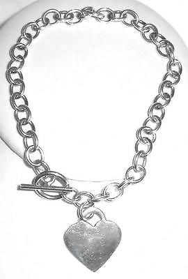Vintage Sterling Silver Heart Charm Toggle Bracelet 7.5""