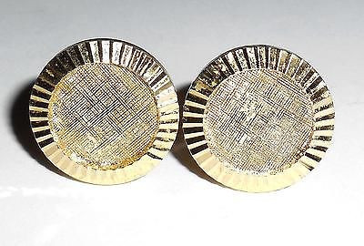 Vintage Gold Plated Fancy Ribbed Edge Mens Swivel Cufflinks Excell No Gold Wear