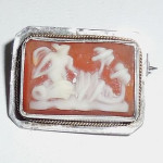 Antique Edwardian Shell Cameo Sterling Silver Lingerie Pin With Gold Wrap