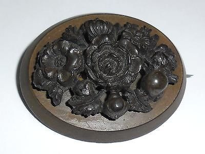 Antique Victorian Carved Gutta Percha Volcanite Civil War Mourning Pin