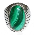 Vintage Mexican Sterling Silver Large Malachite Mens Ring Size 11.75