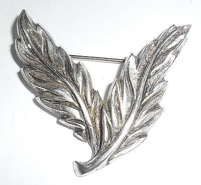 Vintage Chas Layng Thick Hand Made Sterling Silver Twin Leaf Pin 11gr