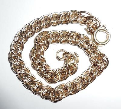 Vintage 1 20th 12k Gold Filled Chain Link Charm Bracelet 7 5/8""