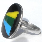 Large Vintage Hand Made 925 Sterling Silver Abstract Enamel Ring Size 8 1/2