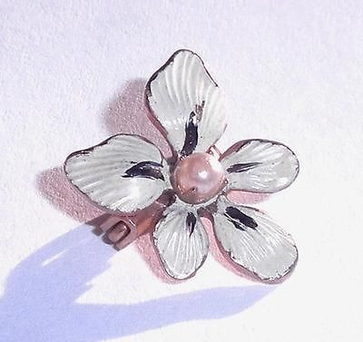 Tiny Antique 1930s Art Deco Enameled Lily Lingerie Pin