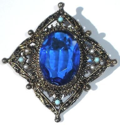 Vintage Cobalt Blue Faceted Glass Pearls Turqoise Pin Antique Finish Florenza
