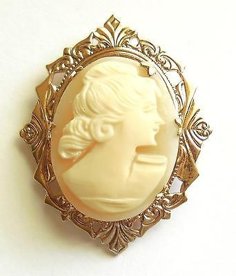 Antique Gold Gilt Carved Shell Cameo Estate Pin Restore Repurpose