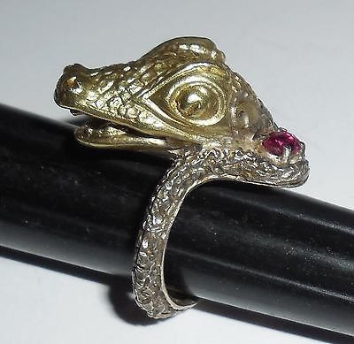 Big Chunky 18k Gold Plated Gharial Aligator Reptile Ring 7