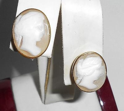 49599445b Antique Vintage Art Deco 1/20 12k Gold Filled Shell Cameo Screwback Earrings