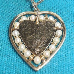 12k Gold Filled Heart Shaped Pearl Pendant Necklace In Box