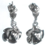 Fancy Vintage Platinum Plated  Dangle Rose Earrings Pierced Never Used No Wear