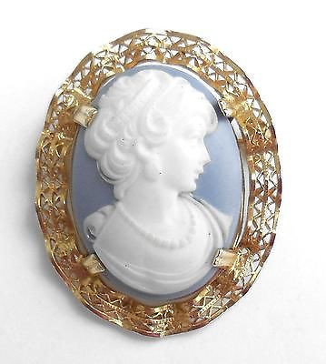1/20th 12k Gold Filled Fancy Filigree Faux Cameo Pin No Wear Condition