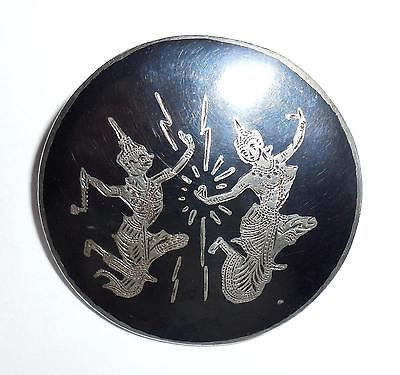 Vintage Hand Made Niello Siam Sterling Silver Thai Dancers Pin