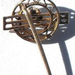 Antique Edwardian 14k Gold Filigree Diamond Original Baroque Pearl Stickpin