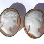Antique Vintage Art Deco 1/20 12k Gold Filled Shell Cameo Screwback Earrings