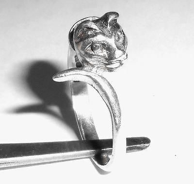 Vintage 925 Sterling Silver Cat Kitten W Collar Ring Size 6.5 Excell Condition