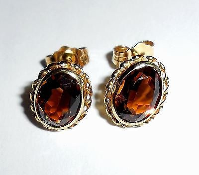 Vintage 14k Gold 1.7 Cts Bezeled Citrine Pierced Earings Size Small