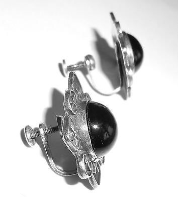 Vintage Mexican Sterling Silver And Onyx Screw Earrings Old Mark
